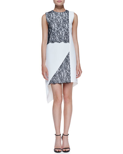 Robert Rodriguez Geo-Lace Two-Tone Dress