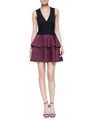 Robert Rodriguez Crisscross-Back Fit-and-Flare Combo Dress