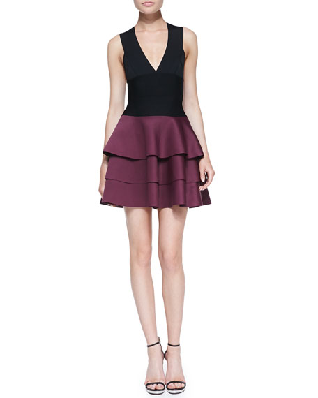 Crisscross-Back Fit-and-Flare Combo Dress