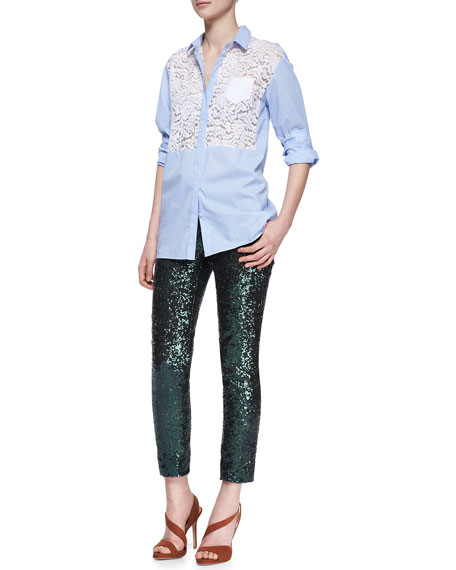 Sequined Straight-Leg Cropped Pants