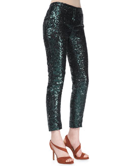 No.21 Sequined Straight-Leg Cropped Pants