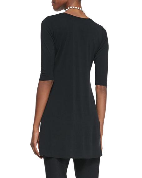 Half-Sleeve Silk Jersey Tunic, Women's
