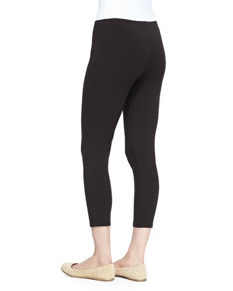 Cropped Stretch-Jersey Leggings, Black, Women's