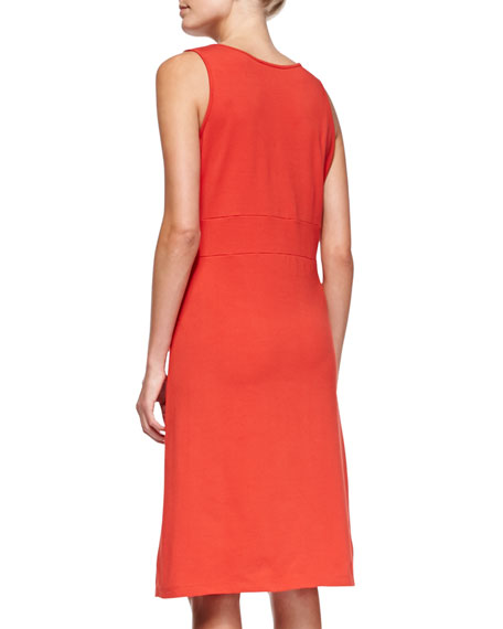 Sleeveless Faux-Wrap Jersey Dress