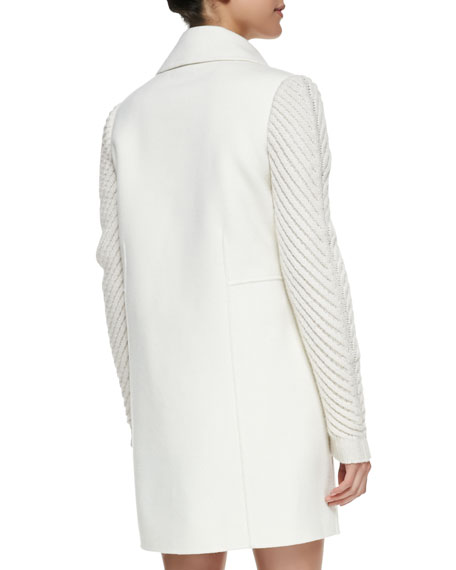 Sweater-Sleeve Felt Coat, Winter White