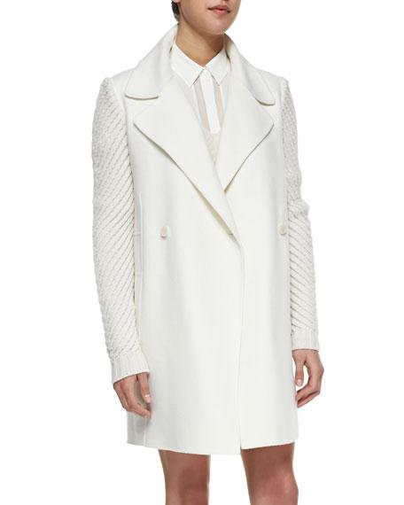 Sweater-Sleeve Felt Coat, Winter White