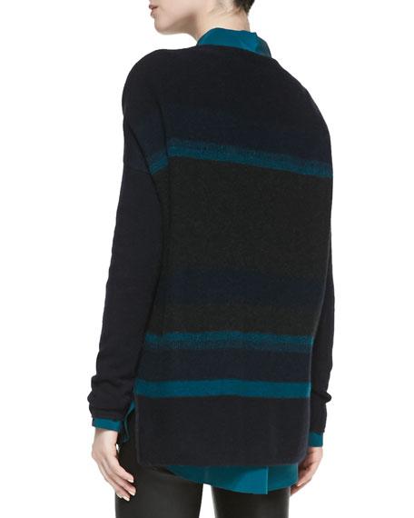 Boat-Neck Striped Knit Sweater