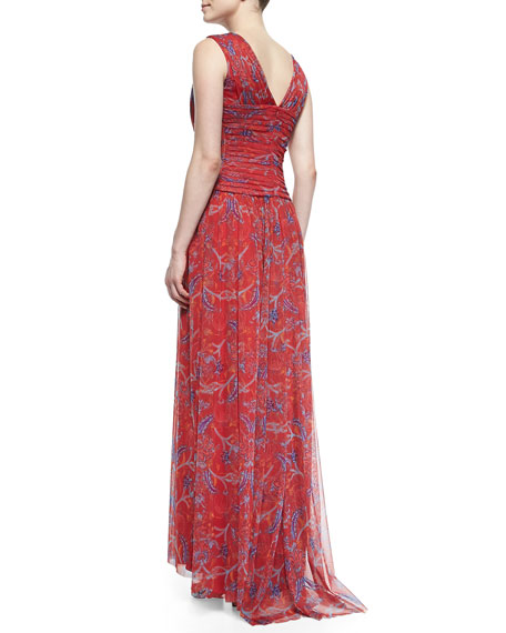 Sleeveless Floral-Print Chiffon Gown