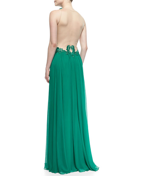 Sleeveless Lace-Bodice Chiffon-Skirt Gown, Elm Green