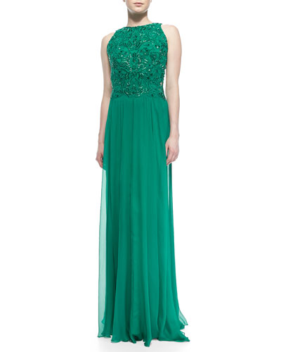 Tadashi Shoji Sleeveless Lace-Bodice Chiffon-Skirt Gown, Elm Green
