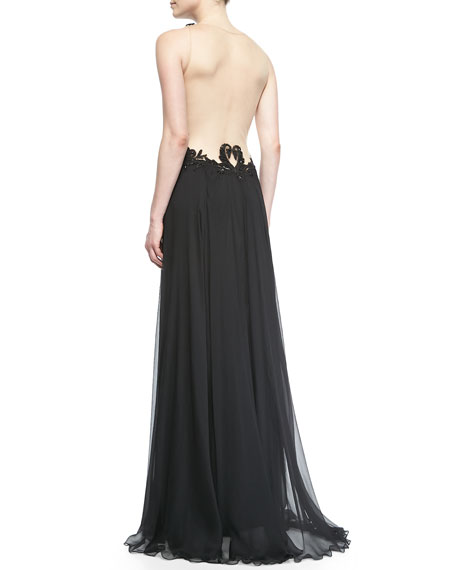 Sleeveless Lace-Bodice Chiffon-Skirt Gown, Black