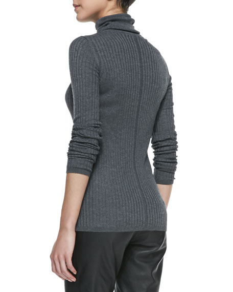 Slim Ribbed Knit Turtleneck, Thunder