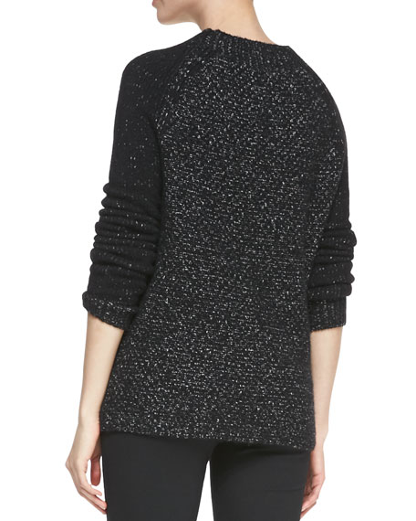 Seed-Stitch Long-Sleeve Wool Sweater