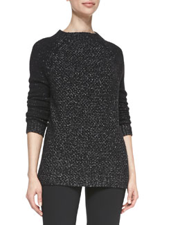 Vince Seed-Stitch Long-Sleeve Wool Sweater