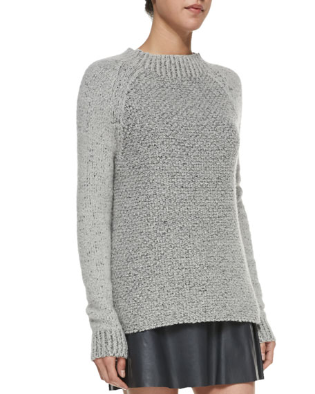 Mixed-Knit Mock-Neck Sweater