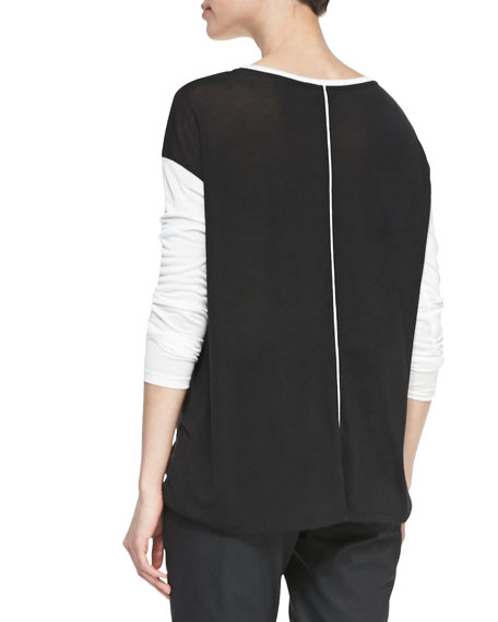 Long-Sleeve Tee with Silk Piping, Black/Bone