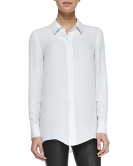 Vince Classic Long-Sleeve Silk Blouse, White