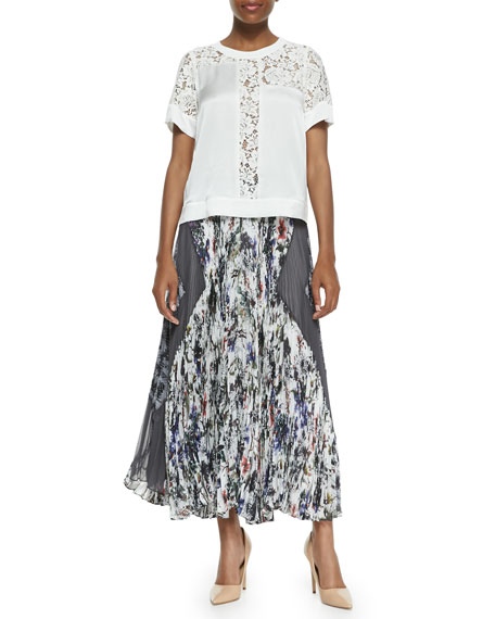 Gray Gardens Accordion-Pleated Skirt, Black/White