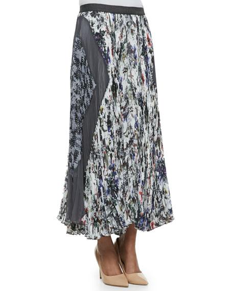 Gray Gardens Accordion-Pleated Skirt, Black/White
