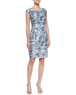 Kay Unger New York Cap-Sleeve Abstract-Print Dress