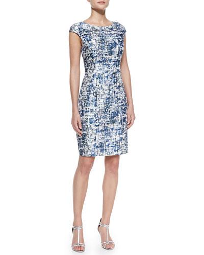 Kay Unger New York Cap-Sleeve Abstract-Print Dress