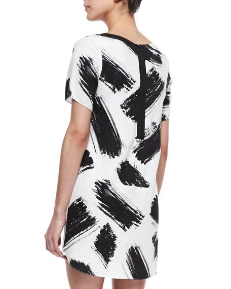 Phebe Paintbrush-Print Shift Dress