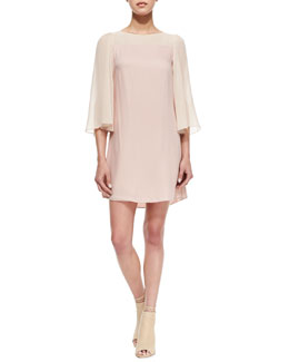 Alice + Olivia Caprice Flutter-Sleeve Dress