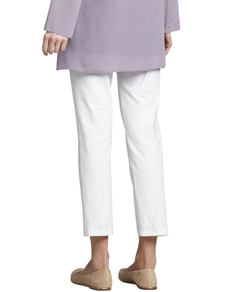 Washable Stretch-Crepe Ankle Pants, White, Petite