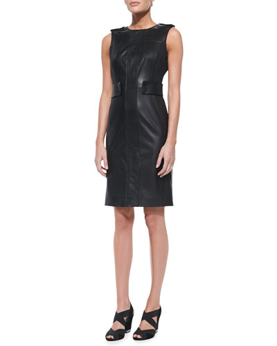 Tory Burch Luisa Sleeveless Leather & Ponte Dress