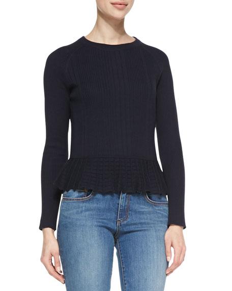 Tory Burch Sienna Cashmere/Silk Peplum Sweater