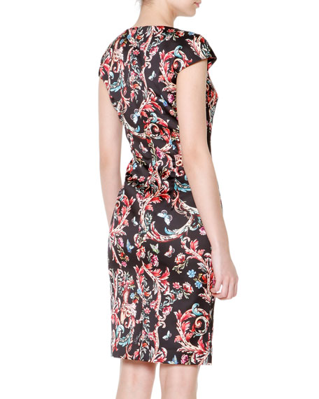 Cap-Sleeve Scroll-Print Dress