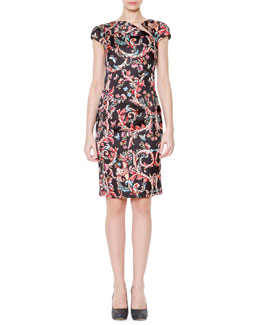 Just Cavalli Cap-Sleeve Scroll-Print Dress