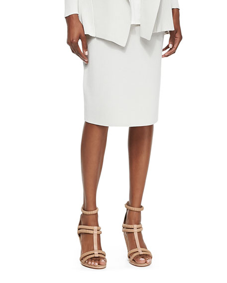 Eileen Fisher Silk-Cotton Straight Skirt
