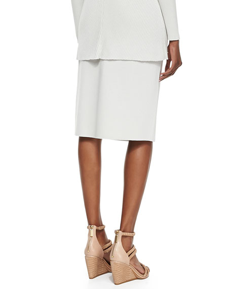 Silk-Cotton Straight Skirt, Plus Size
