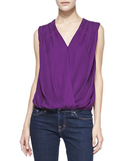 Alice + Olivia Silk/Linen Gathered-Shoulder Top