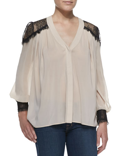 Alice + Olivia Sofia Georgette & Lace V-Neck Blouse
