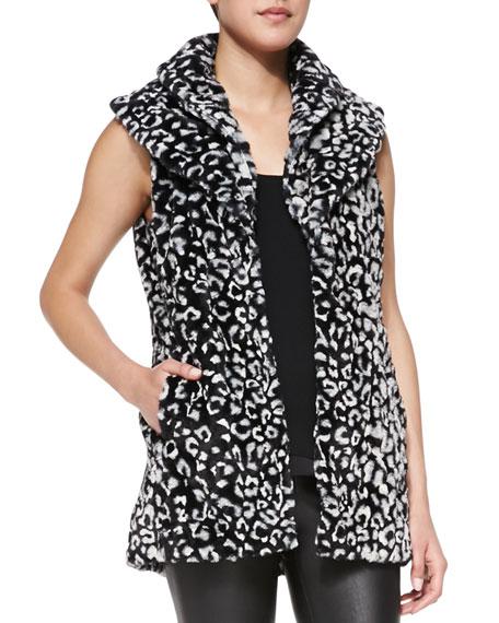 Kelsi Leopard-Print Faux-Fur Long Vest