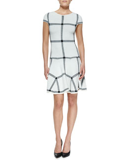 Alice + Olivia Selma Checkered-Knit Dropped-Waist Dress