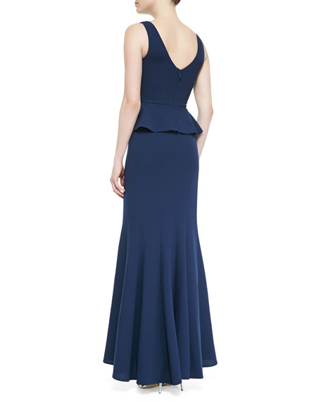Sleeveless Crepe Peplum Gown