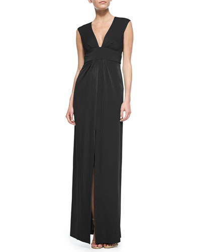 BCBGMAXAZRIA Kiera Sleeveless Gown with Front Center Slit, Black, Petite