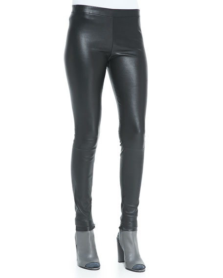 Vince Smooth Leather Leggings, Black