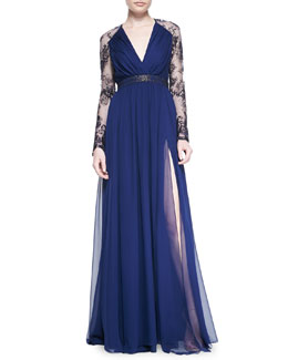 Badgley Mischka Collection Lace-Sleeve V-Neck Gown
