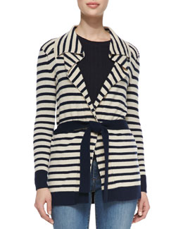 Tory Burch Vaile Striped Cashmere Cardigan