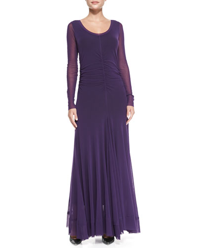 Long-Sleeve Ruched Tulle Maxi Dress