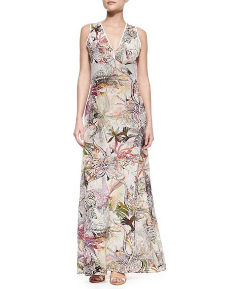Zoe Sleeveless Printed Silk Maxi Dress