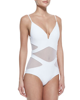 Zimmermann Georgia Bonded Plunge-Neck 1-Piece Swimsuit