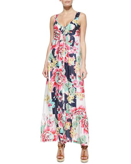 Sleeveless Floral-Print Button-Front Long Dress, Women's