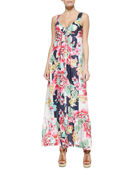 Sleeveless Floral-Print Button-Front Long Dress