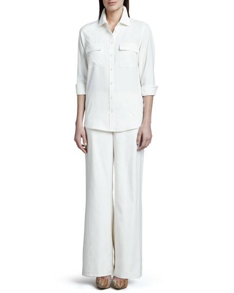 Wide-Leg Silk Pants, Women's