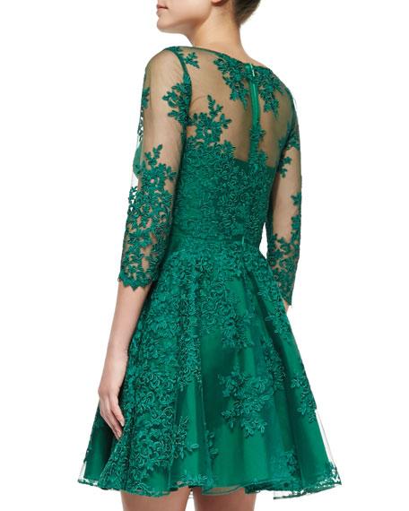 ML Monique Lhuillier 3/4-Sleeve Lace Illusion Cocktail Dress